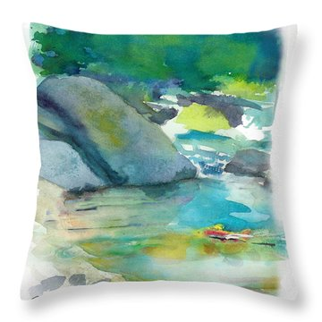 Throw Pillow featuring the painting Fishin' Hole by C Sitton