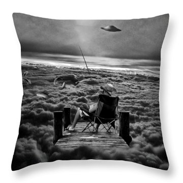 Fishing Above The Clouds Grayscale Throw Pillow
