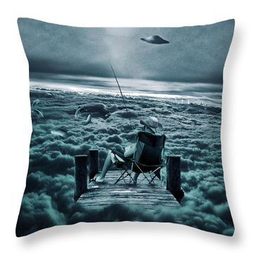 Fishing Above The Clouds Throw Pillow by Marian Voicu