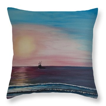 Throw Pillow featuring the painting Fishing Alone At Night by Ian Donley