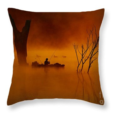 Fishing Among Nature Throw Pillow by Elizabeth Winter