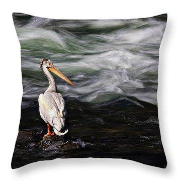 Fishing At Lehardy Rapids Throw Pillow