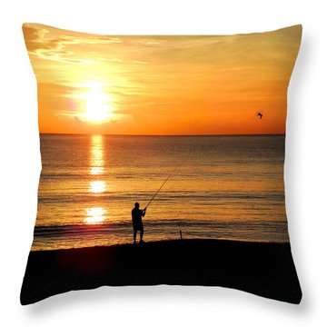 Fishing At Sunrise Throw Pillow
