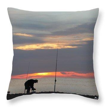 Fishing At Sunrise Throw Pillow by Robert Banach