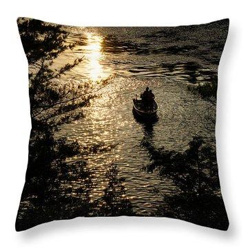Fishing At Sunset - Thousand Islands Saint Lawrence River Throw Pillow