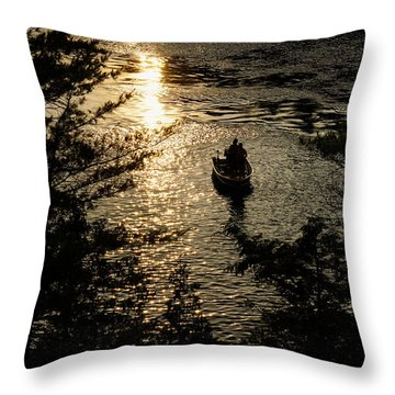 Fishing At Sunset - Thousand Islands Saint Lawrence River Throw Pillow