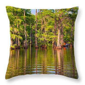Fishing At The Bayou Throw Pillow by Ester  Rogers