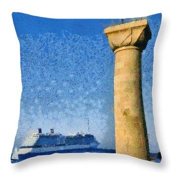 Fishing At The Entrance Of Mandraki Port Throw Pillow by George Atsametakis