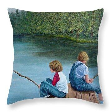 Fishing At The Lake Throw Pillow