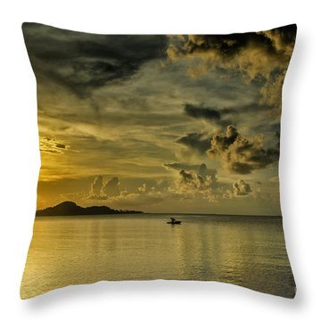 Fishing Before Dark Throw Pillow by Michelle Meenawong
