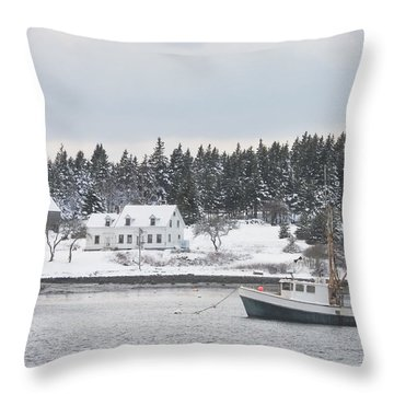 Fishing Boat After Snowstorm In Port Clyde Harbor Maine Throw Pillow by Keith Webber Jr