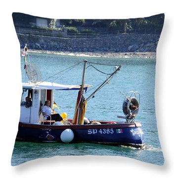 Fishing Boat At Portovenere Throw Pillow