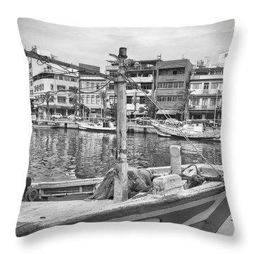 Fishing Boat B W Throw Pillow