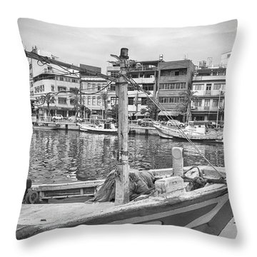 Fishing Boat B W Throw Pillow