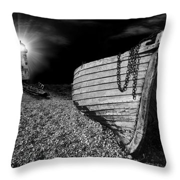 Fishing Boat Graveyard 5 Throw Pillow by Meirion Matthias