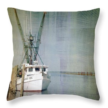 Fishing Boat In Chincoteague Throw Pillow
