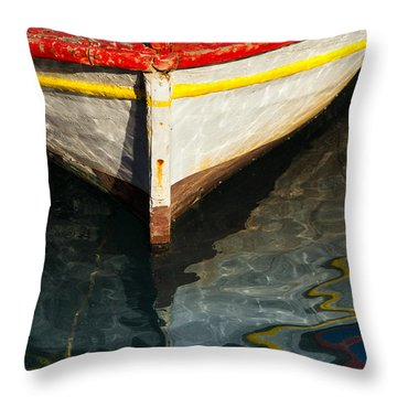 Fishing Boat In Greece Throw Pillow