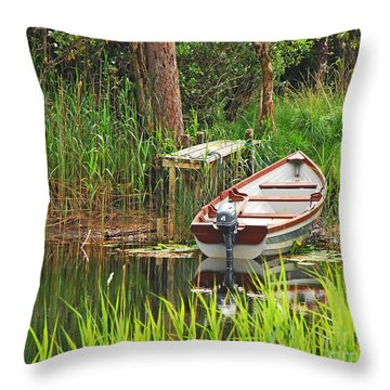 Fishing Boat Throw Pillow by Mary Carol Story