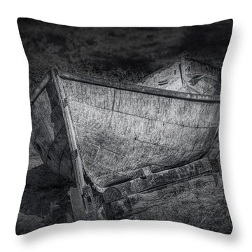 Fishing Boat On Shore In Black And White Throw Pillow by Randall Nyhof
