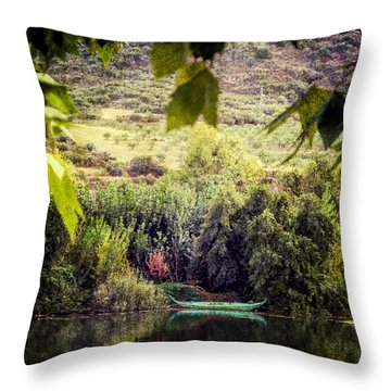 Fishing Boat On The River Douro Throw Pillow by Lynn Bolt