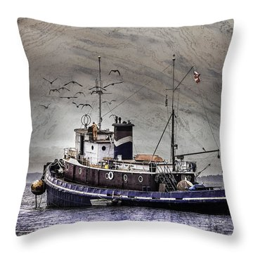 Throw Pillow featuring the mixed media Fishing Boat by Peter v Quenter
