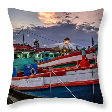 Fishing Boat V2 Throw Pillow by Adrian Evans