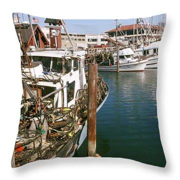 Fishing Boats At A Dock, Fishermans Throw Pillow