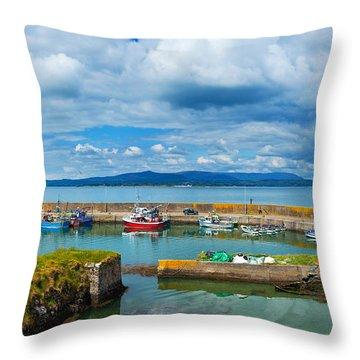 Fishing Boats At A Harbor, Helvick Throw Pillow
