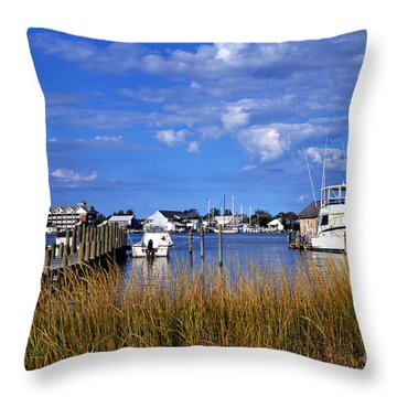 Fishing Boats At Dock Ocracoke Island Throw Pillow by Thomas R Fletcher