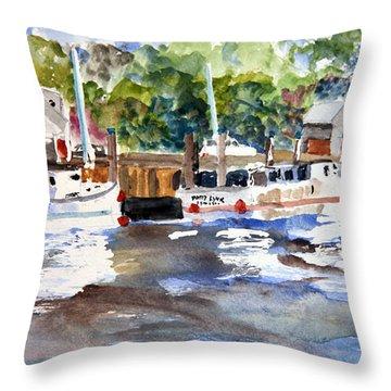 Fishing Boats At Rock Harbor Throw Pillow