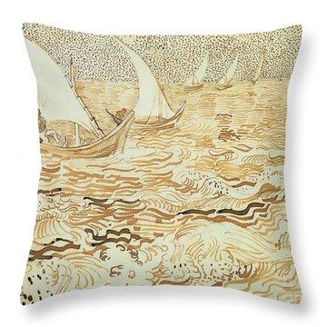 Fishing Boats At Saintes Maries De La Mer Throw Pillow by Vincent van Gogh