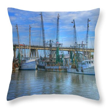 Fishing Boats At The Dock Throw Pillow