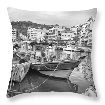 Fishing Boats B W Throw Pillow