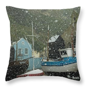 Fishing Boats Covered With Snow In Old Throw Pillow by Chris Parker