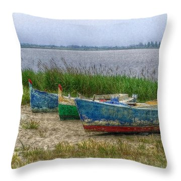 Throw Pillow featuring the photograph Fishing Boats by Hanny Heim