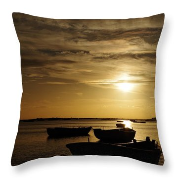 Fishing Boats In Cacela Velha Throw Pillow