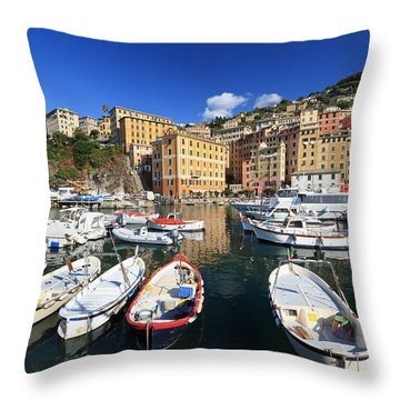 Throw Pillow featuring the photograph fishing boats in Camogli by Antonio Scarpi