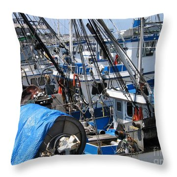 Fishing Boats In Monterey Harbor Throw Pillow