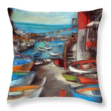 Fishing Boats In Riomaggiore Throw Pillow