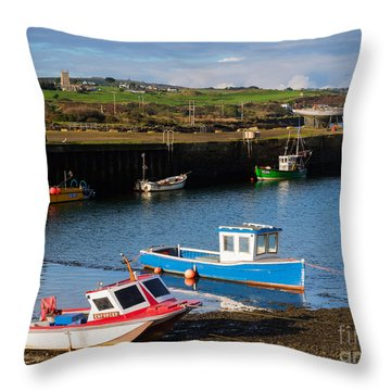 Fishing Boats In The Harbour At Hayle Throw Pillow by Louise Heusinkveld