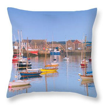 Fishing Boats In The Howth Marina Throw Pillow by Semmick Photo