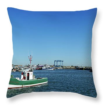 Fishing Boats In The Sea, La Cotiniere Throw Pillow