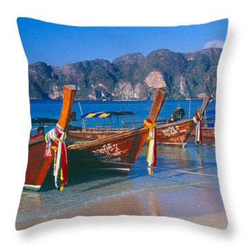 Fishing Boats In The Sea, Phi Phi Throw Pillow