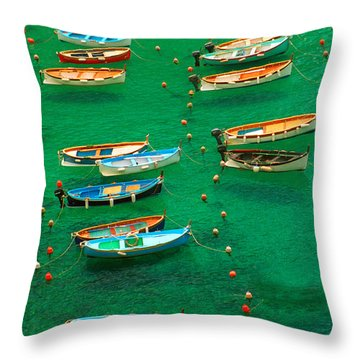 Fishing Boats In Vernazza Throw Pillow