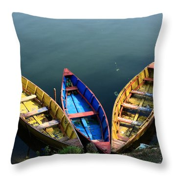 Fishing Boats - Nepal Throw Pillow by Aidan Moran