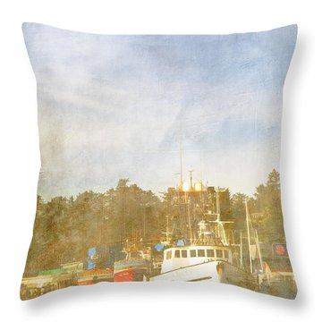 Fishing Boats Newport Oregon Throw Pillow