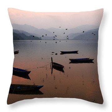 Fishing Boats - Phewa Lake - Nepal Throw Pillow by Aidan Moran