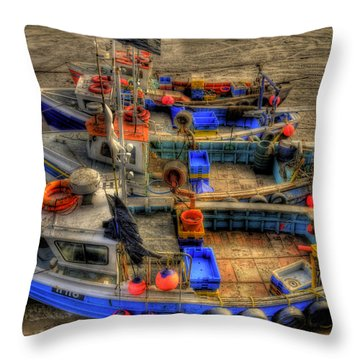 Fishing Boats Throw Pillow by Svetlana Sewell