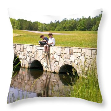 Fishing Throw Pillow by Bonnie Clark Weatherford
