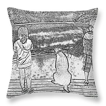 Fishing Buddies Throw Pillow by Barbara Griffin